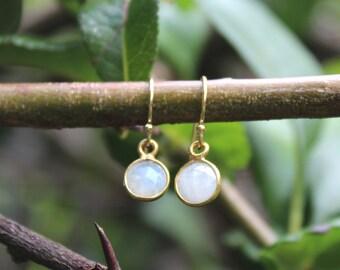 Moonstone dangle gold vermeil earrings