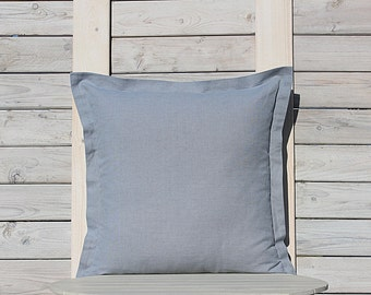 Organic decorative pillow cover  / Custom size linen sham / bluish gray