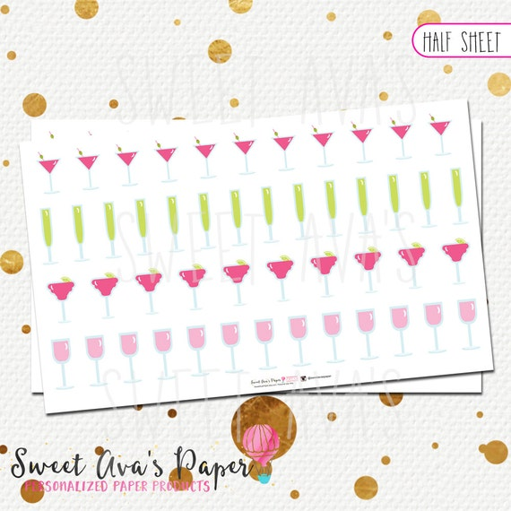 Girly drinks planner stickers half sheet or by for Half page sticker labels