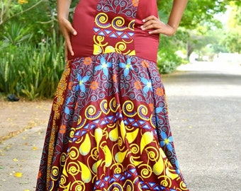 Stunning African Print Dress Multicolor; Formal Dress; Prom Dress