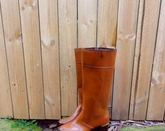 Vintage knee high 60s rain boots tan rubber gumboots mod size 8