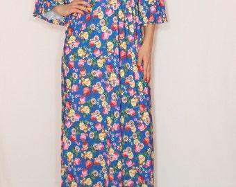 Floral dress Long maxi dress Bright blue dress Women