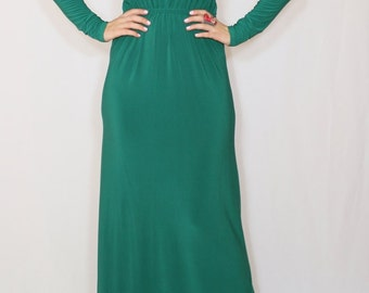 Emerald green dress Long sleeve dress Maxi dress Women