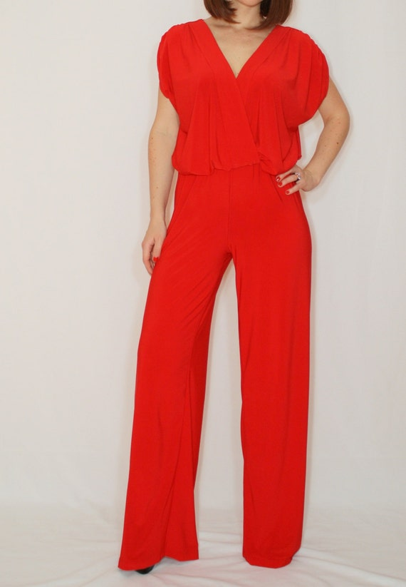 2a3dbf6ac539 Red Jumpsuit Sleeveless Jumpsuits Women Wrap Top By Dresslike