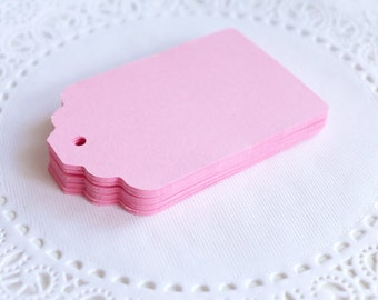Large Scallop Top Tags, Pink Scallop Tags, Cardstock Hang Tags, Wedding Favor Tags, Gift Tags