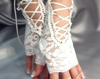 White lace up fingerless gloves