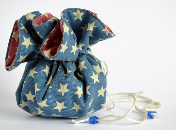 blue drawstring pouch jewelry pouch jewllery bag blue