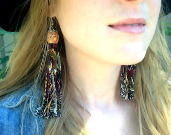 Unique Shabby Chic/Boho/Bohemian/Hippie/Tie Dye/Paisley Long Beaded Upcycled Fabric/Textile Tassel Earrings/Eco-friendly