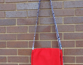Cross-body Purse: Mini Messenger Red and Blue