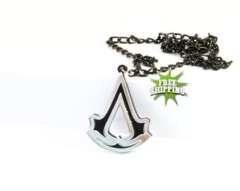 Assassin's Creed Necklace!  Assassin's Creed Video Game Pendant! Assassin's Creed Logo | Gamer Jewelry