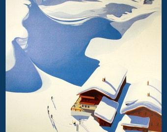 Ski Skiing in Austria Winter Sport European Travel Tourism Vintage Poster Repro FREE SHIPPING