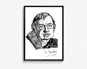 Stephen Hawking Poster, Scientist Print, Hawking Portrait Ink Drawing, Science Poster, Physics Gift, Geek Science Lover, NASA Universe Print