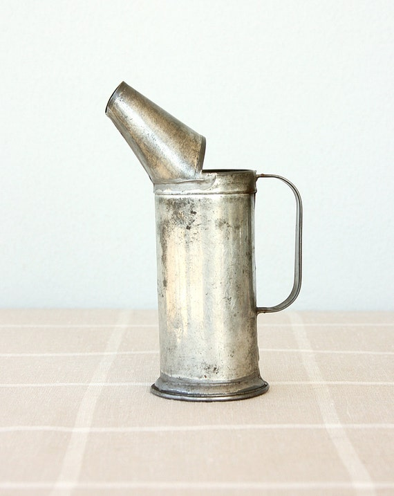 Vintage Galvanized Measuring cup Oil beaker Collectible tin Turkish steel can jug Metal Rustic vase Cottage farmhouse decor
