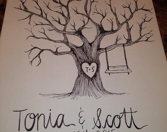 Custom Hand Painted/Drawn Wedding Thumbprint Tree Guestbook on Canvas