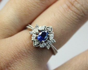 Diamond Sapphire Engagement Ring | Milgrain Thin Ring | Vintage Wedding Ring | Victorian Style Engagement Ring