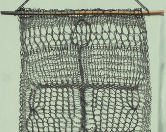 """Wall Hanging Knitted Wall Art Abstract from Black Silk & Linen Yarn 18"""" x 24.5"""""""
