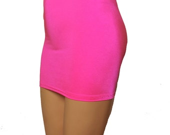 Hot Pink Lycra Spandex Stretch Mini Skirt S9