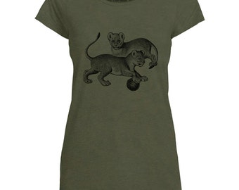 Mintage Lion Cubs Playing Womens Capped Sleeve T-Shirt