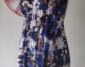 Cotton dress with blue flower print Beyond Fashion
