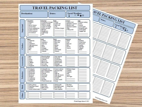 Travel Packing List Printable Travel List By