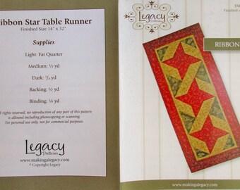"Legacy Patterns Table Runner ~ ""Ribbon Star""  #LEG501"