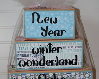 Monthly reversible wooden stacking blocks - January, February, March, April