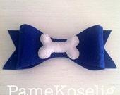 Navy Blue Felt Hair Bow with Bone