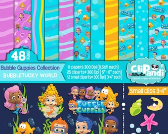 INSTANTDOWNLOAD [[ 48 ITEMS ]] Bubble Guppies Papers-Cliparts set ||Bubbletucky World Pack||