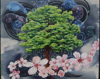 """Tree with cherry blossoms: Original. One of a kind. Handmade. Abstract and realistic. 30x26"""" Oil, Acrylic and Ink. Home décor."""