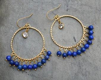 Statement Circle Earrings / Lapis and CZ's Earrings / Genuine 24k Gold Over Sterling Silver / Chandelier Blue Earrings / Statement Earrings