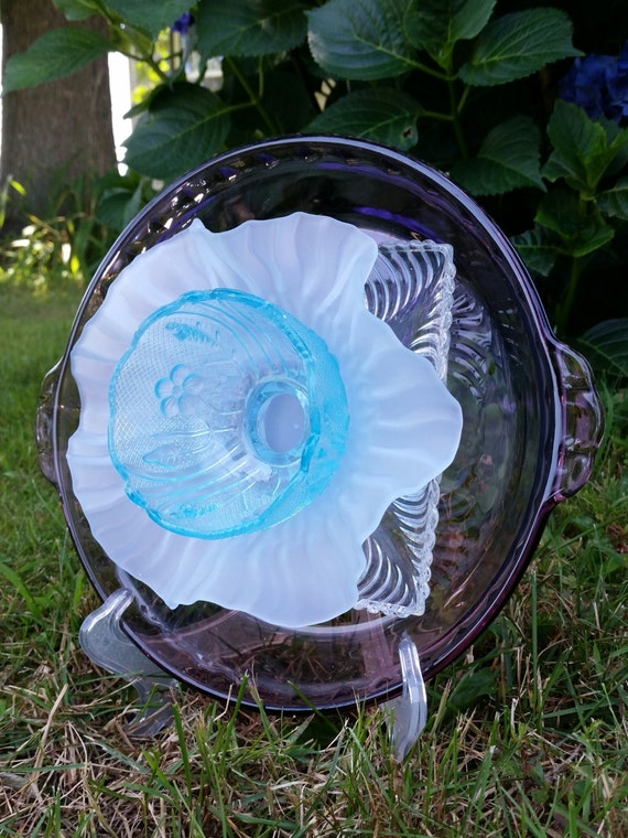 Ooak upcycled glass garden decor vintage by for Upcycled yard decor
