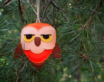 Phil the Redhead Owl felt owl sewing and appliqué pattern