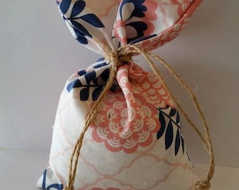 """24 Shabby Chic/Western Theme/Navy and Coral Favor Bags 4""""x7"""""""