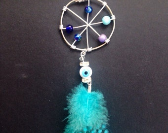 Wire wrapped dream catcher feather necklace