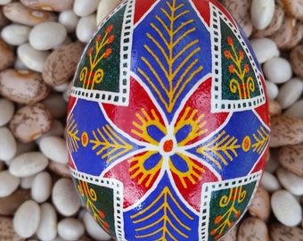 Pysanky - Red Flowers With Blue Background