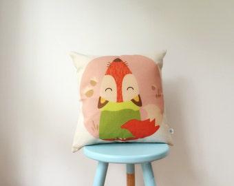 Oh Hey Mr. Fox! | Autumn Fox | Red Orange Cute Adorable Kids Cushion Cover | Pillow Cover
