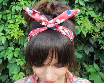 Coral headband -Colorful headband- Red headband- Pink womens headband- Headband for her- Polka dot headband - Pin up headband - Headscarf