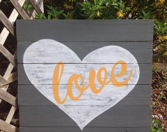 Love (Heart) sign, hand painted wood sign, CUSTOM to match your decor!