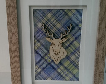 Blue / Green Tartan Stag Deer Decorative Frame