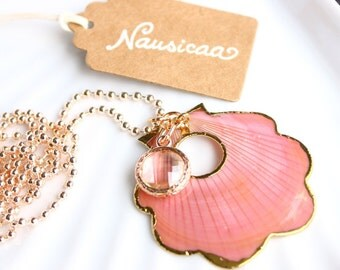 Nausicaa-natural shell and Crystal pendant necklace