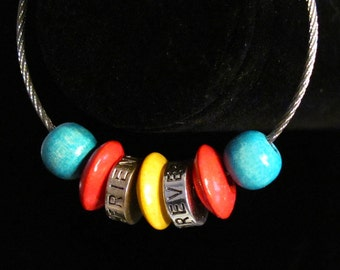 Set of 2 Steel Cable Friendship Bracelets: Colorful Wood and Silver BFF/Seashells - Secure Screw-On Clasps