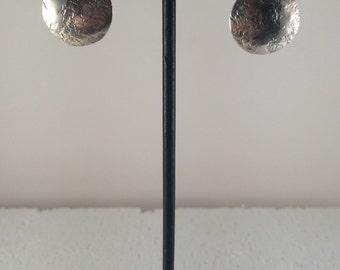 Sterling silver two circle stud dangle earrings.