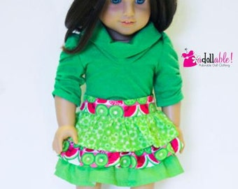 American made Girl Doll Clothes, 18 inch Girl Doll Clothing, Green Skirt, Green Muse Shirt made to fit like American girl doll clothes