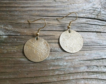 Hand-etched Brass Floral Earrings