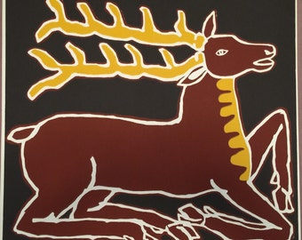 Vintage Stag Screenprint by Gail Holliday, 1972 - Limited edition on Chocolate Brown Background