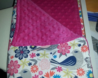 Clearance Baby girl pink bird blanket