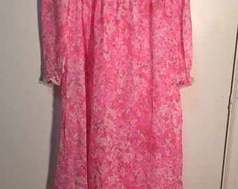 Vintage sheer pink dress with pearl accents /// FREE SHIPPING