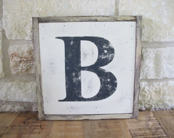"The Letter ""B"" (black letters on white background), Hand Made, Hand Painted, Vintage Look Wooden Sign"