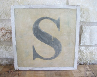 """The Letter """"S"""", Hand Made, Hand Painted, Vintage Look Wooden Sign"""