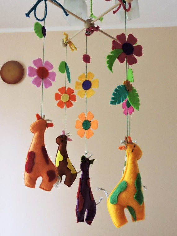 Giraffe baby mobile baby mobile unique baby nursery by for Unusual baby mobiles